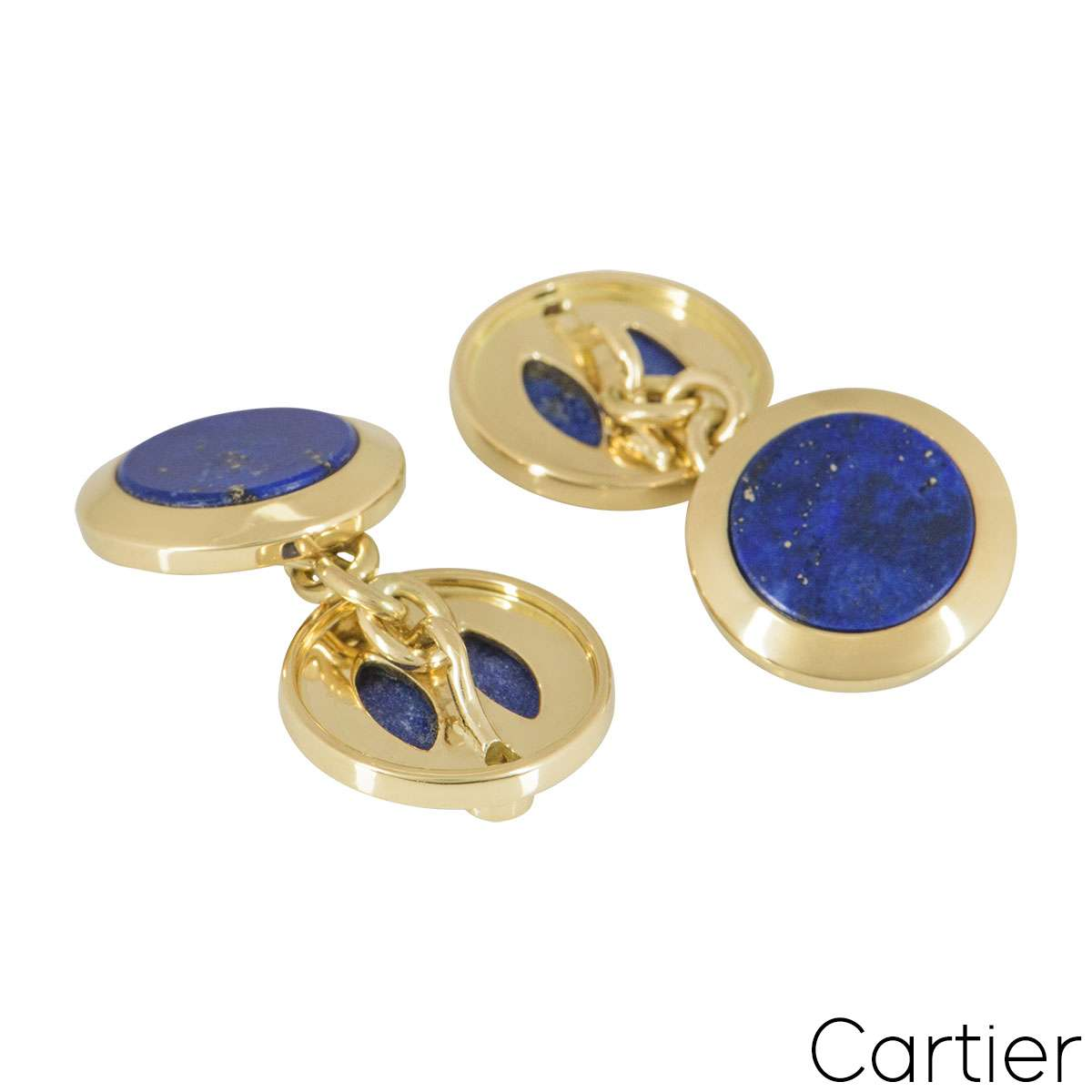 Cartier Yellow Gold Diamond And Lapis Cufflinks